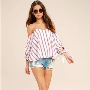 Someone Special Red and White Off The Shoulder Top